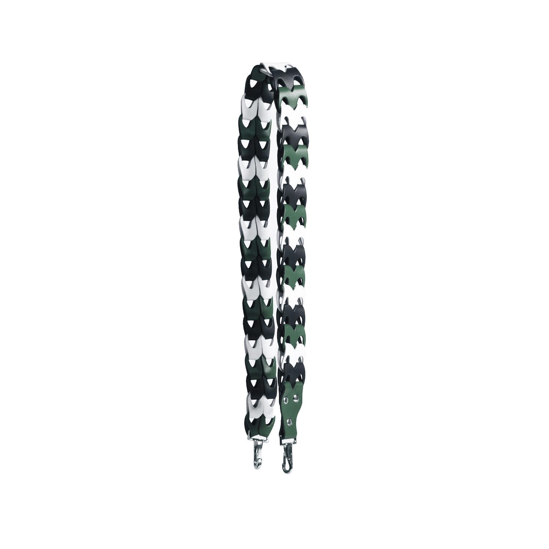 Isla Premium Leather Shoulder Strap in Green/White/Navy