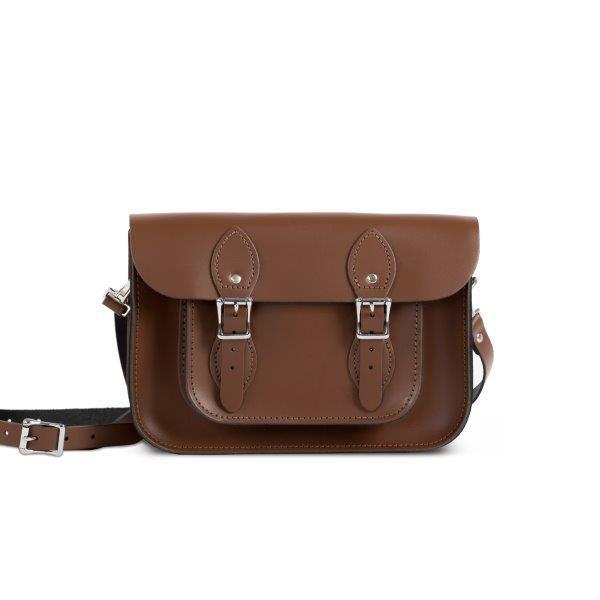 """Charlotte Premium Leather 11"""" Satchel in Dark Brown"""