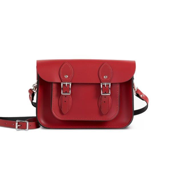 "Charlotte Premium Leather 11"" Satchel in Scarlet Red"