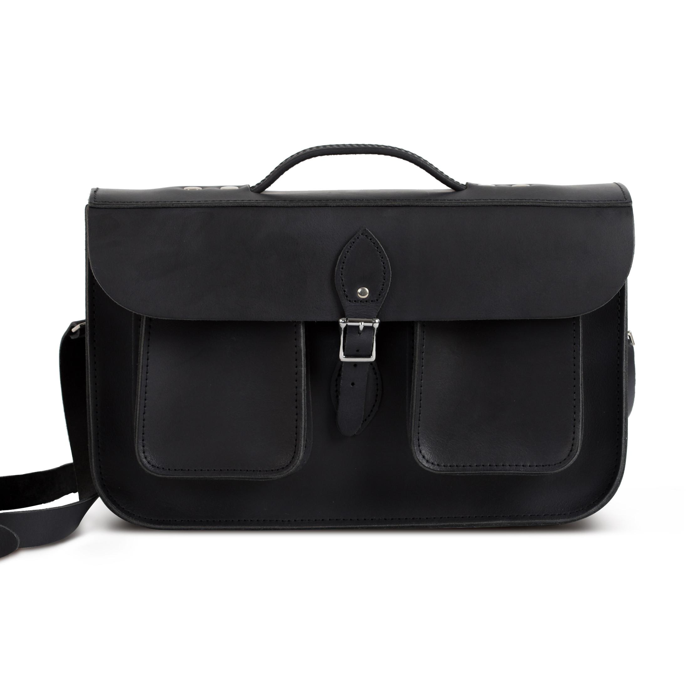 Jude Premium Leather Briefcase in Vintage Black