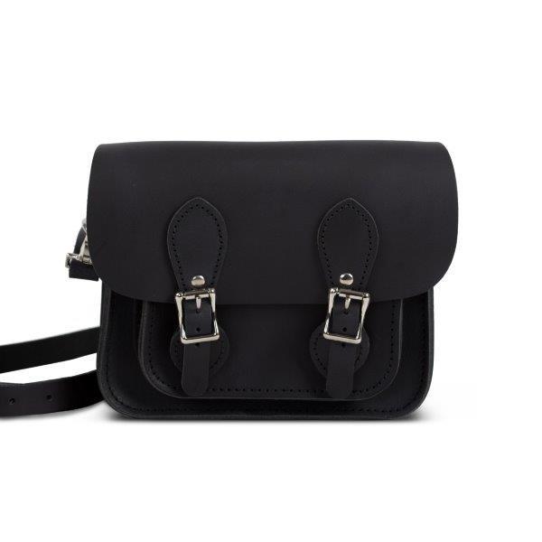 Freya Premium Leather Mini Satchel Bag in Vintage Black