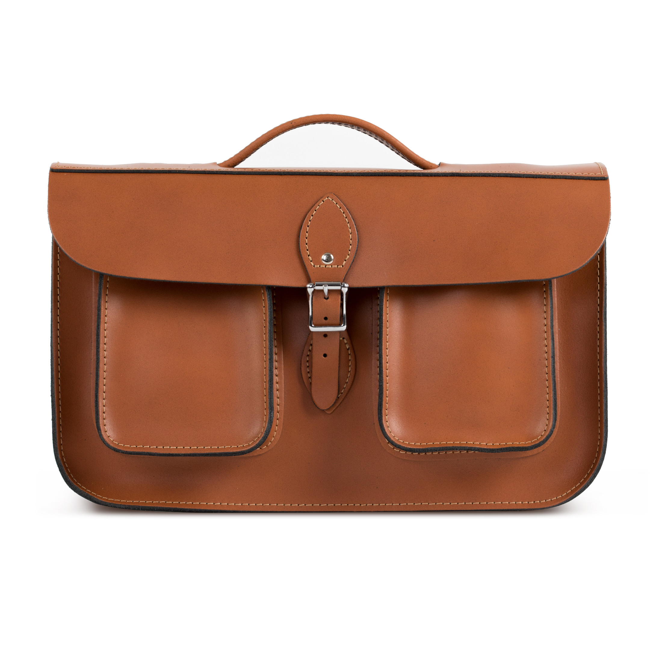 Jude Premium Leather Briefcase in Dark Tan