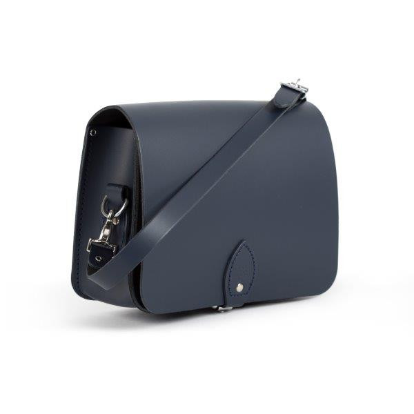 Riley Premium Leather Saddle Bag in Navy Blue