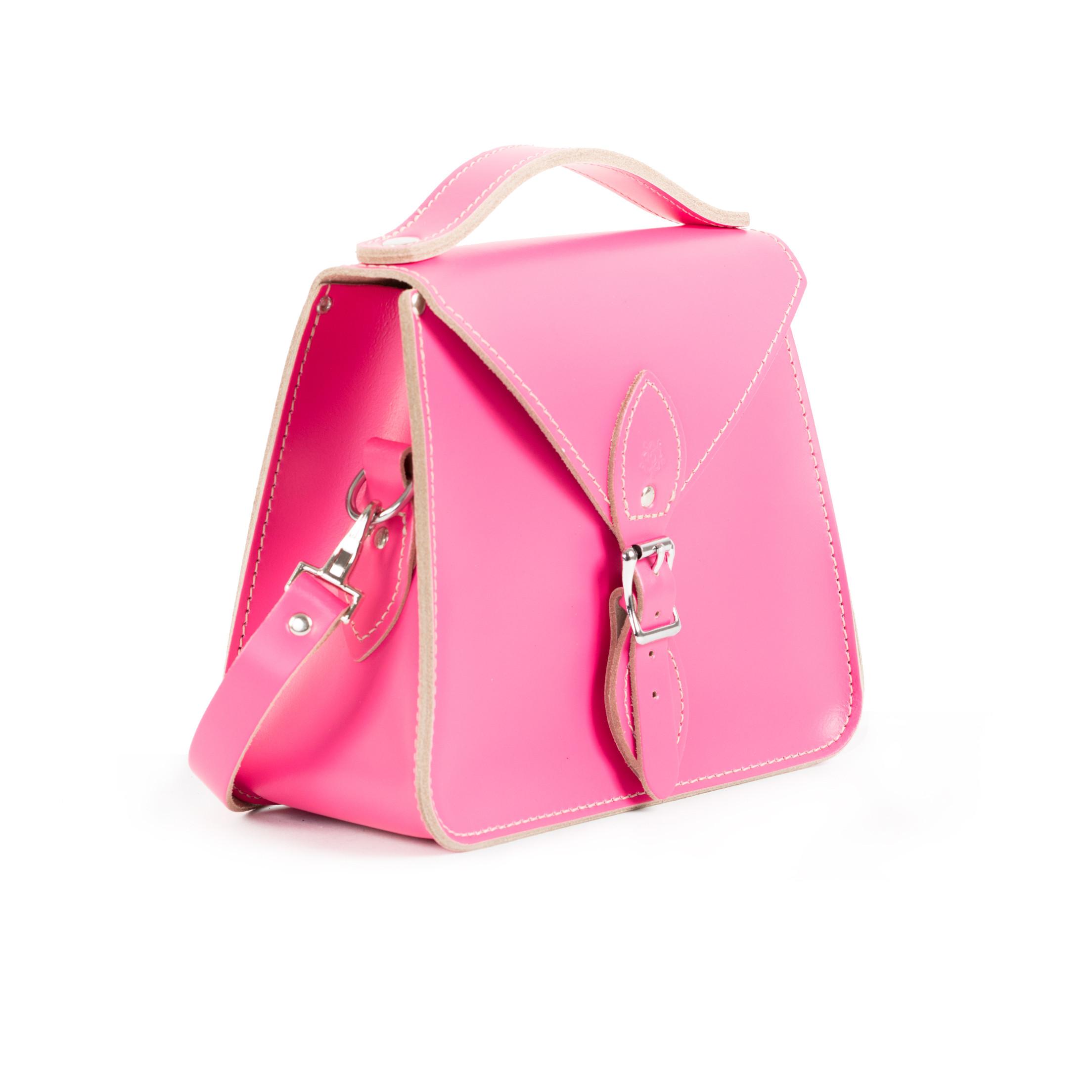 Esme Premium Leather Crossbody Bag in Bright Pink