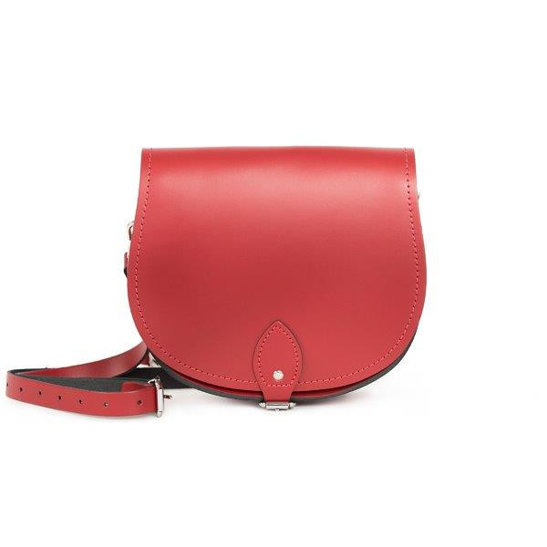 Avery Premium Leather Saddle Bag in Scarlet Red