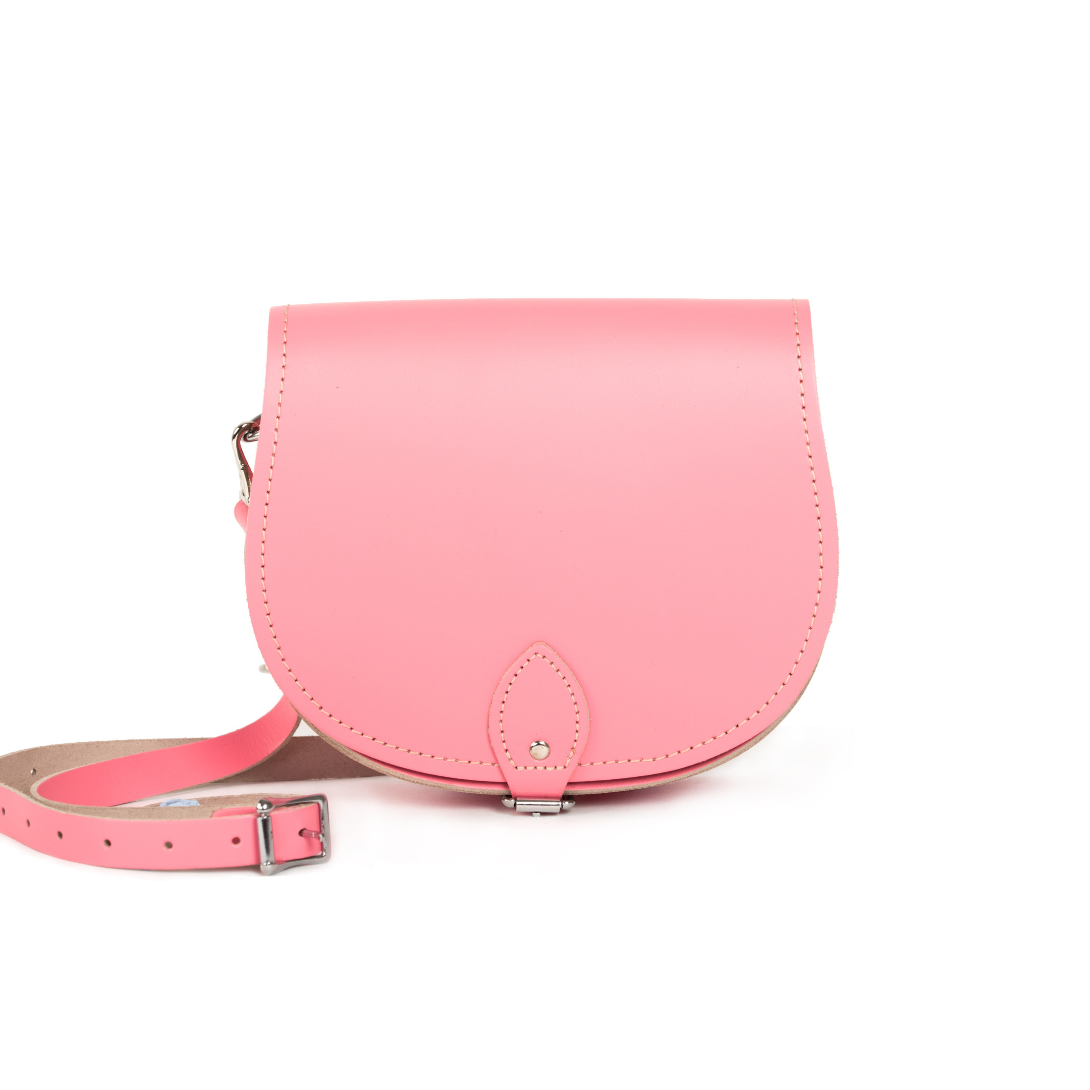 Avery Premium Leather Saddle Bag in Pastel Pink