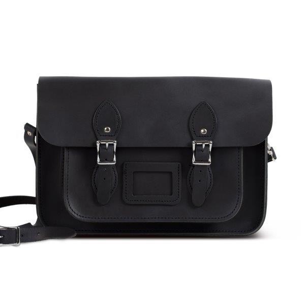 "Charlotte Premium Leather 13"" Satchel in Vintage Black"