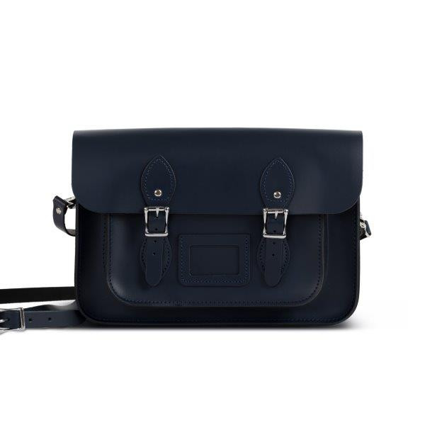 "Charlotte Premium Leather 13"" Satchel in Navy Blue"