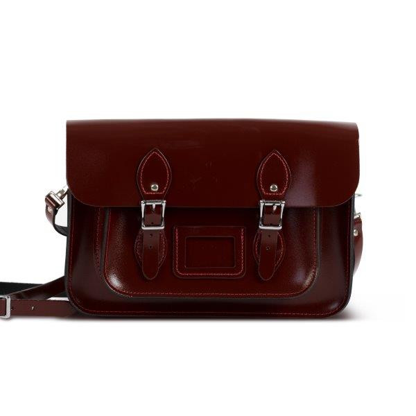 "Charlotte Premium Leather 13"" Satchel in Oxblood Patent"