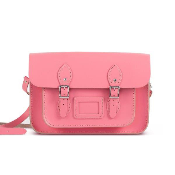"Charlotte Premium Leather 13"" Satchel in Pastel Pink"