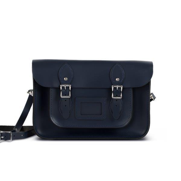 "Charlotte Premium Leather 12.5"" Satchel in Navy Blue"