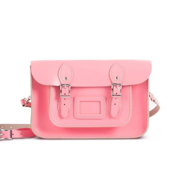 "Charlotte Premium Leather 12.5"" Satchel in Pastel Pink"