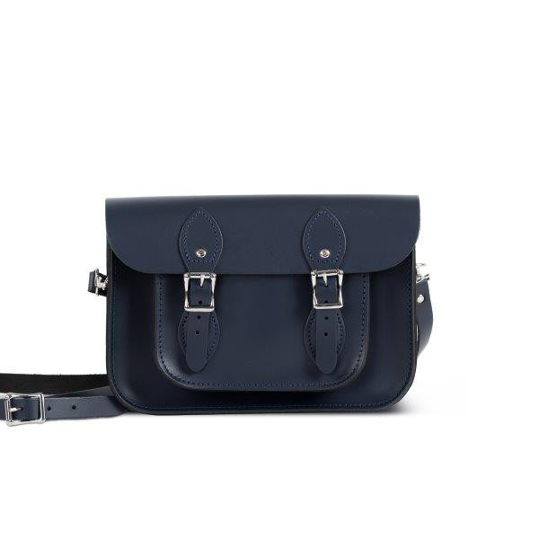 "Charlotte Premium Leather 11"" Satchel in Navy Blue"