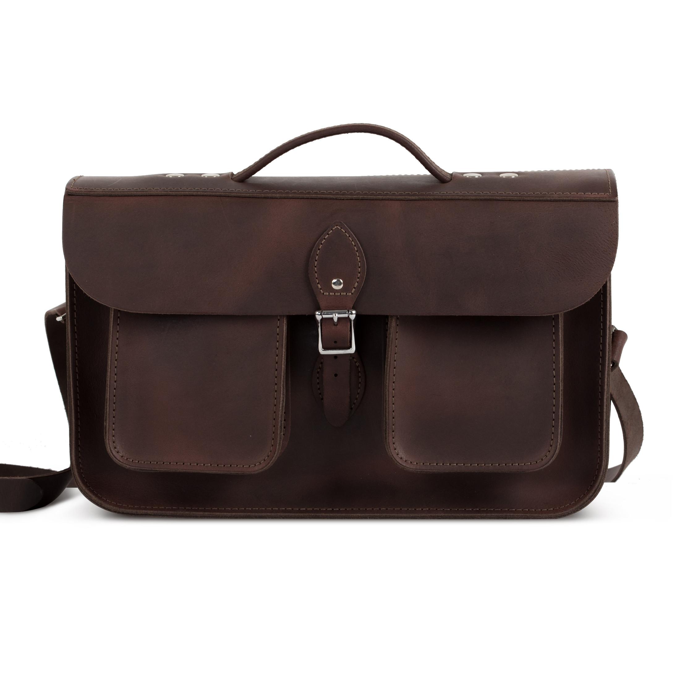 Jude Premium Leather Briefcase in Vintage Brown