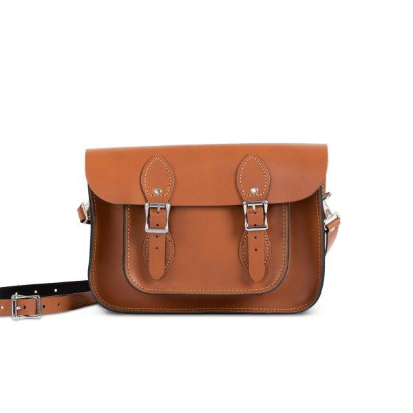 "Charlotte Premium Leather 11"" Satchel in Dark Tan"