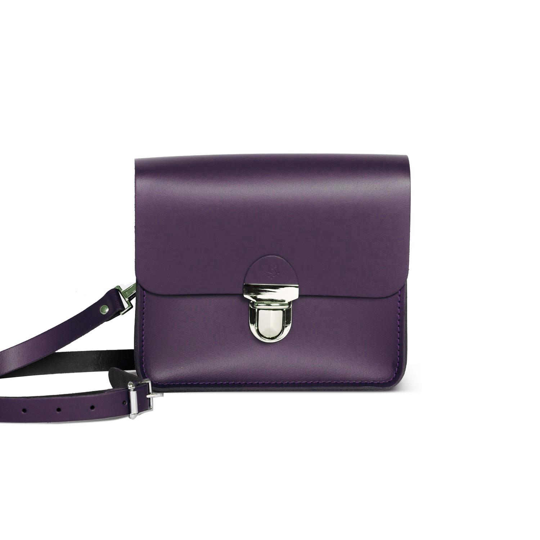 Sofia Premium Leather Crossbody Bag in Aubergine