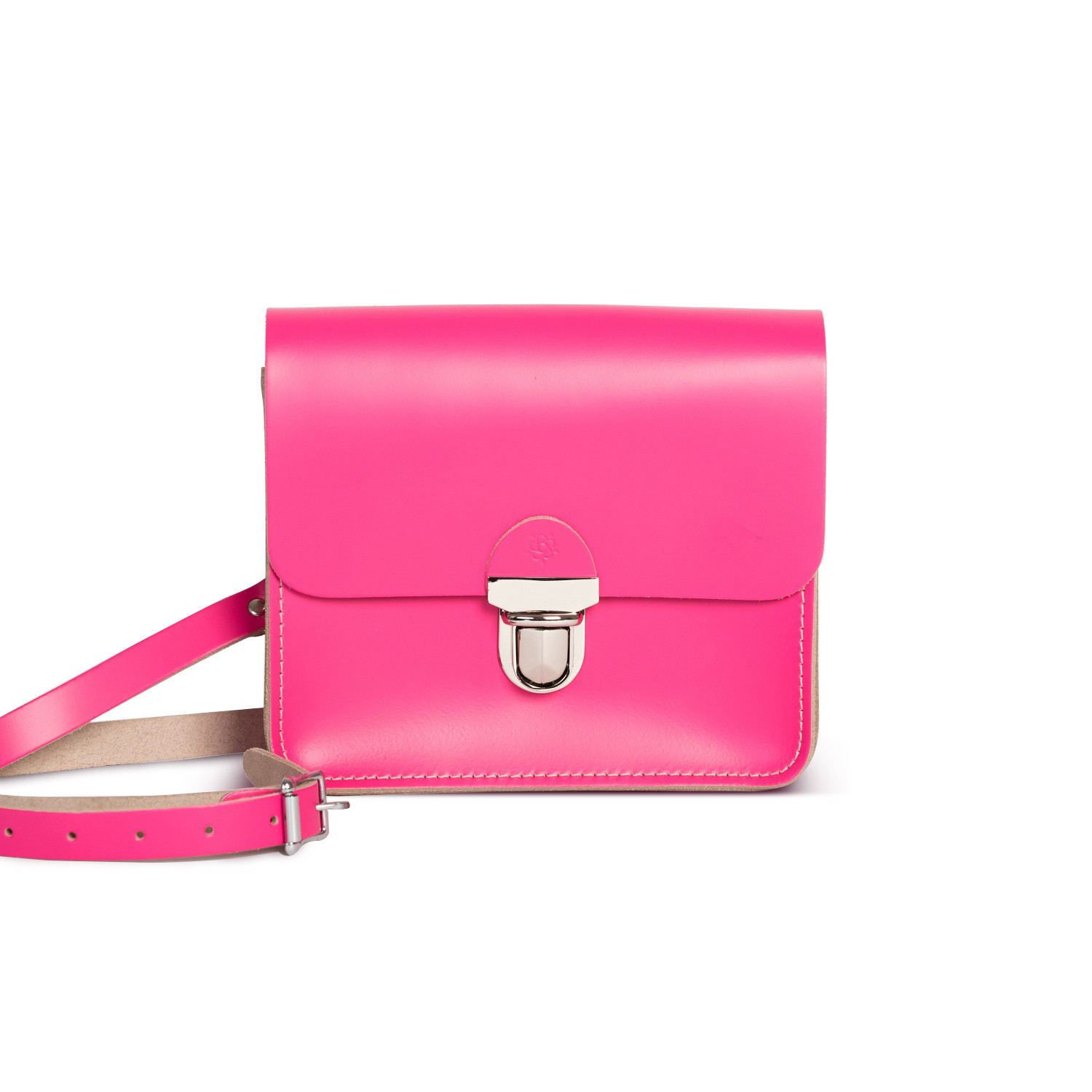 Sofia Premium Leather Crossbody Bag in Bright Pink