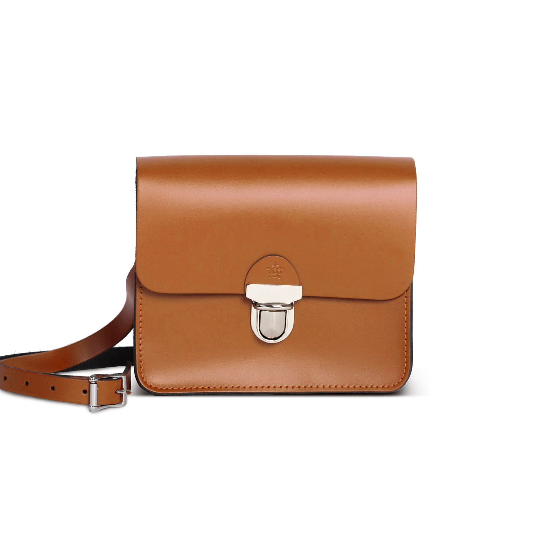 Sofia Premium Leather Crossbody Bag in Dark Tan