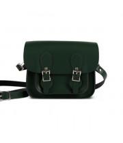 Freya Premium Leather Mini Satchel in Bottle Green
