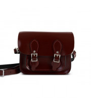 Freya Premium Leather Mini Satchel in Oxblood Patent