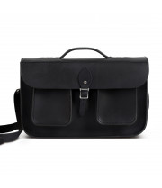 Jude Premium Leather Briefcase in Vintage Black