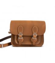 Freya Premium Leather Mini Satchel Bag in Premium Tan