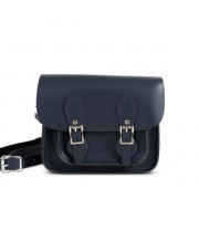 Freya Premium Leather Mini Satchel Bag in Navy Blue