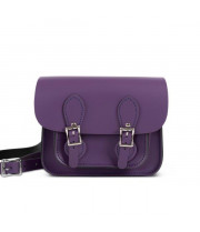 Freya Premium Leather Mini Satchel Bag in Aubergine