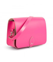 Riley Premium Leather Saddle Bag in Bright Pink