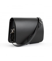 Riley Premium Leather Saddle Bag in Matte Black
