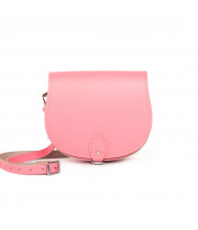 Avery Premium Leather Saddle Bag in Pastel Pink