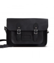 "Charlotte Premium Leather 12.5"" Satchel in Vintage Black by Gweniss"