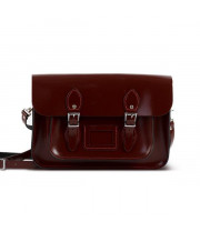 "Charlotte Premium Leather 12.5"" Satchel in Oxblood Patent"