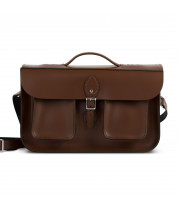Jude Premium Leather Briefcase in Dark Brown