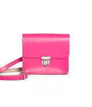Sofia Premium Leather Crossbody Bag in Bright Pink