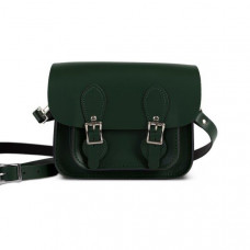 Freya Premium Leather Mini Satchel in Bottle Green