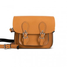 Freya Premium Leather Mini Satchel Bag in Light Tan