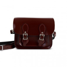 Freya Premium Leather Mini Satchel in Oxblood Patent