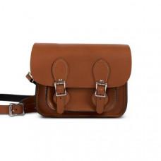 Freya Premium Leather Mini Satchel Bag in Dark Tan