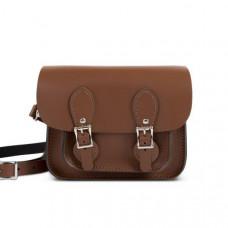 Freya Premium Leather Mini Satchel in Dark Brown