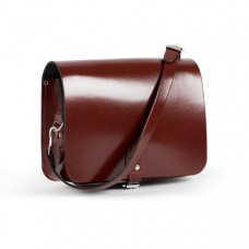 Riley Premium Leather Saddle Bag in Oxblood Patent