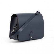 Riley Premium Leather Saddle Bag in Navy Blue