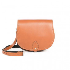 Avery Premium Leather Saddle Bag in Dark Tan