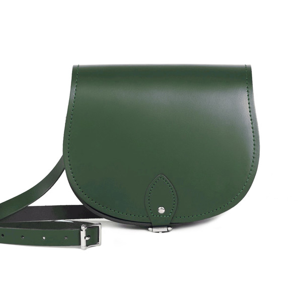 Avery Premium Leather Saddle Bag in Bottle Green