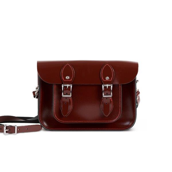 "Charlotte Premium Leather 11"" Satchel in Oxblood Patent"