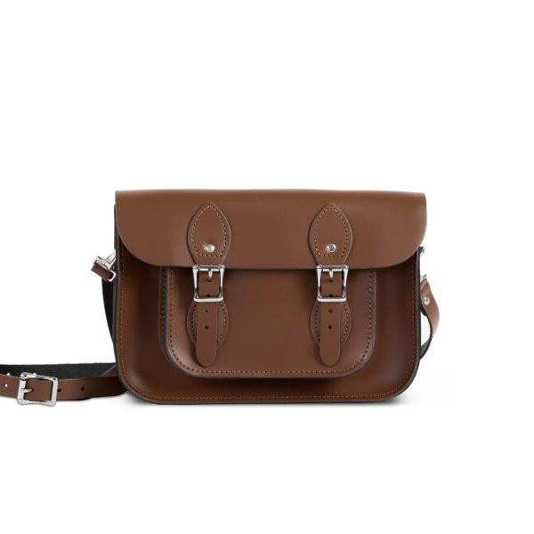 "Charlotte Premium Leather 11"" Satchel in Dark Brown"