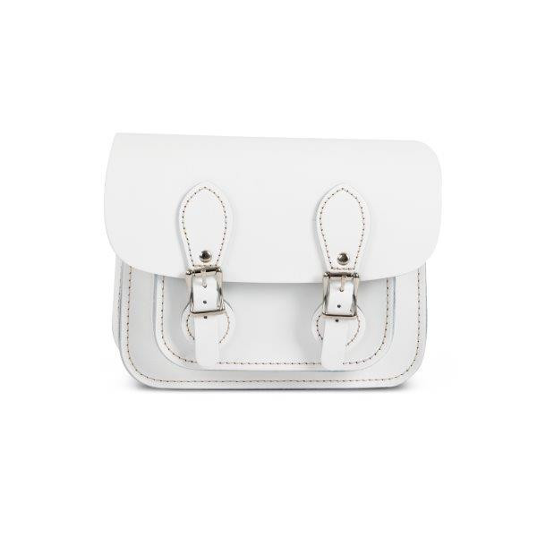Freya Premium Leather Mini Satchel Bag in White