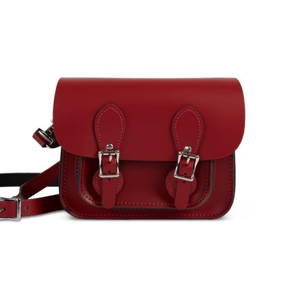 Freya Premium Leather Mini Satchel Bag in Scarlet Red
