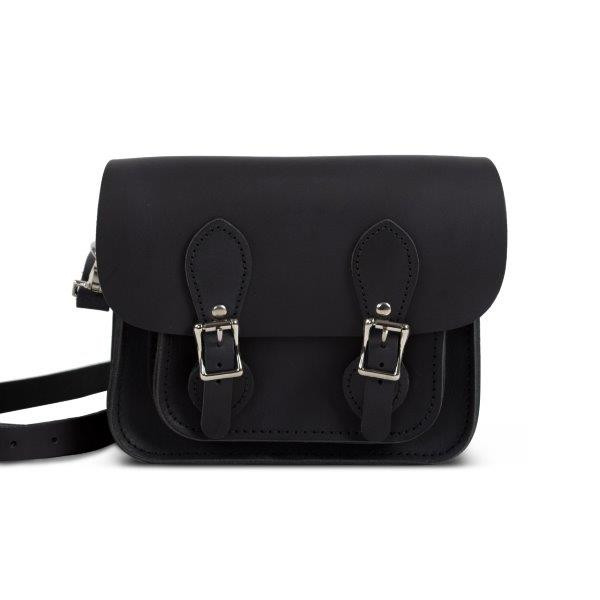 Freya Premium Leather Mini Satchel Bag in Vintage Black