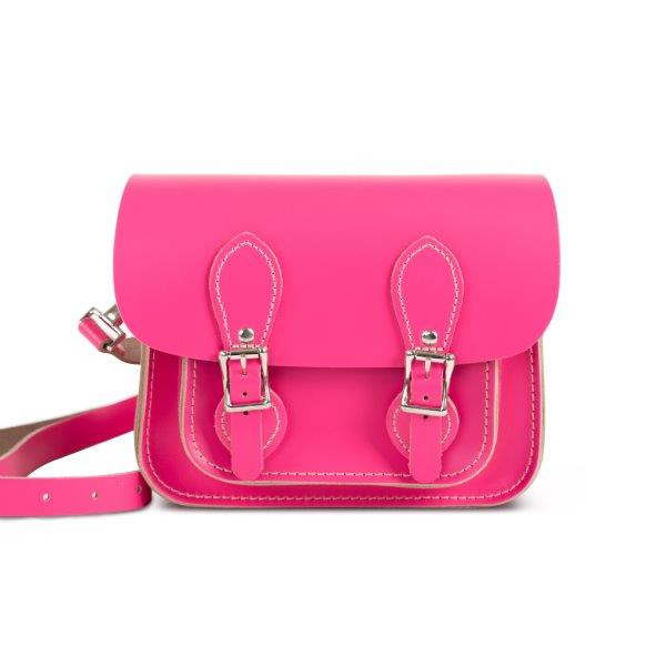 Freya Premium Leather Mini Satchel Bag in Bright Pink